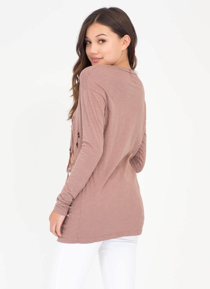 The Hole Story Distressed Burnout Top TAUPE