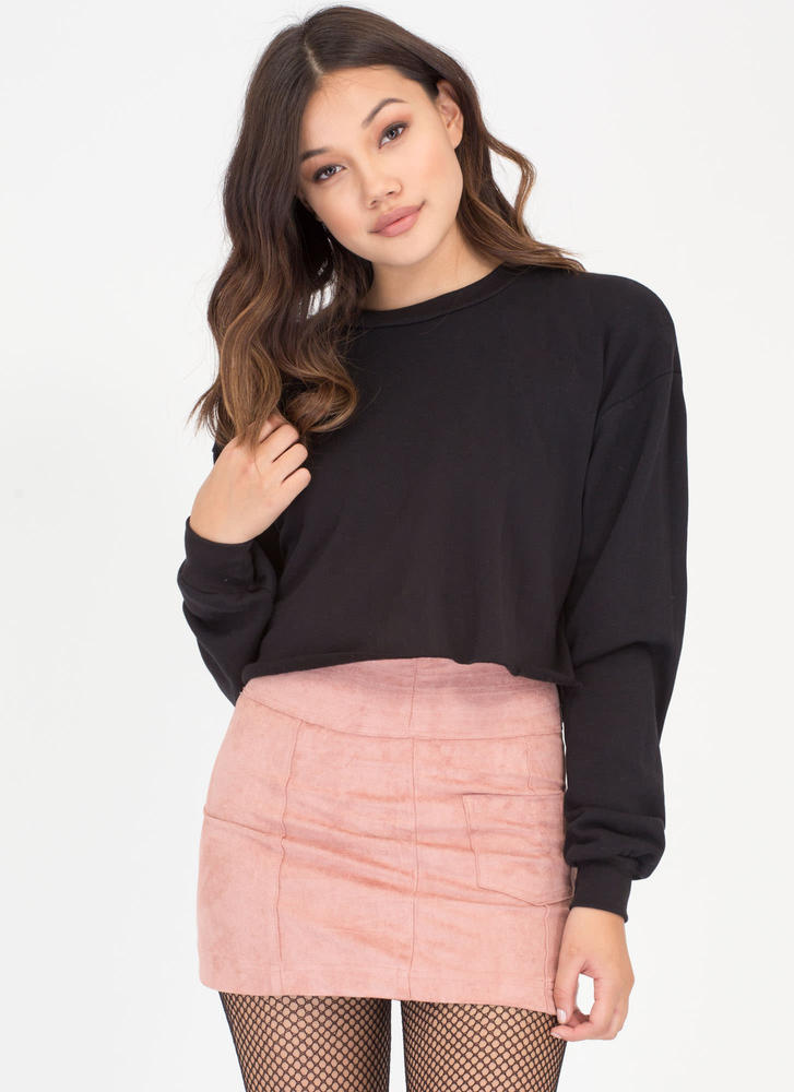 Feels Like Home Cropped Sweatshirt BLACK