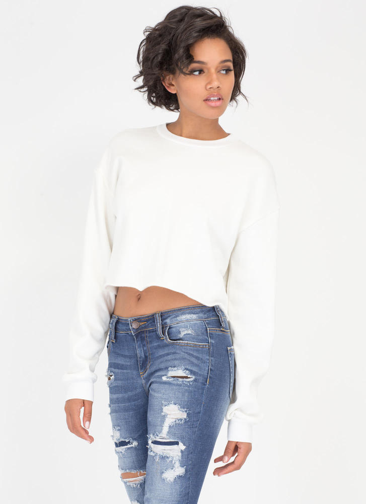Feels Like Home Cropped Sweatshirt IVORY