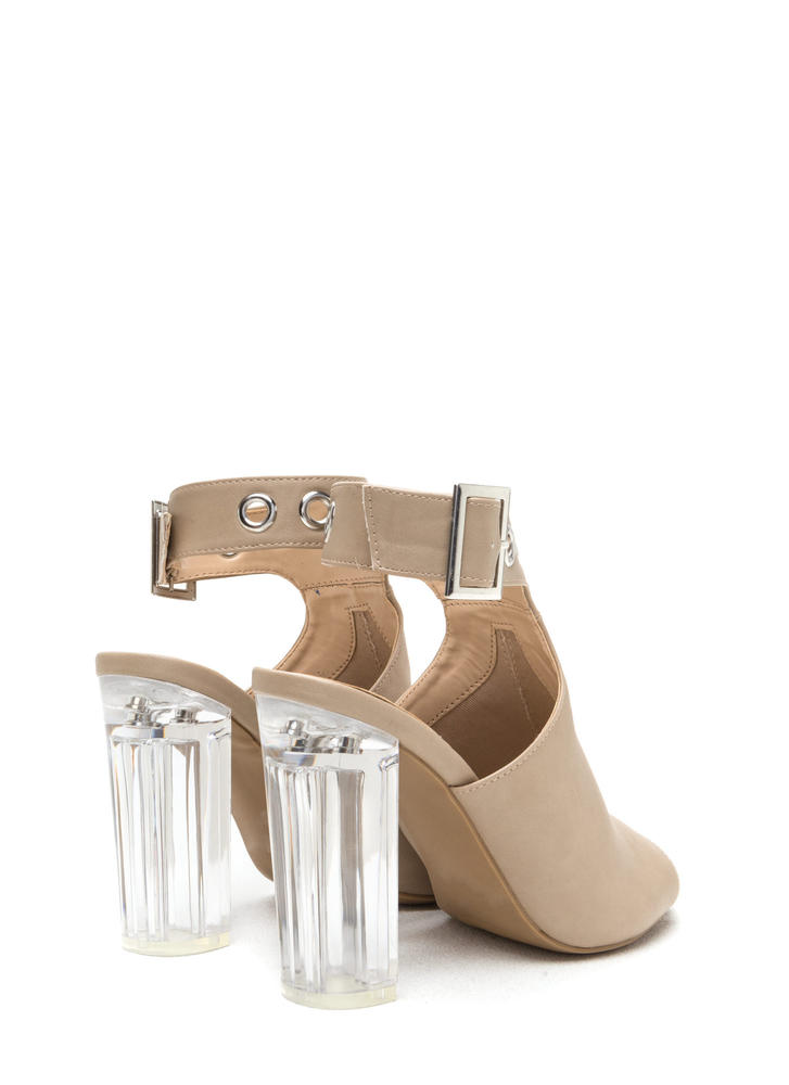 Hole New World Chunky Lucite Heels NATURAL