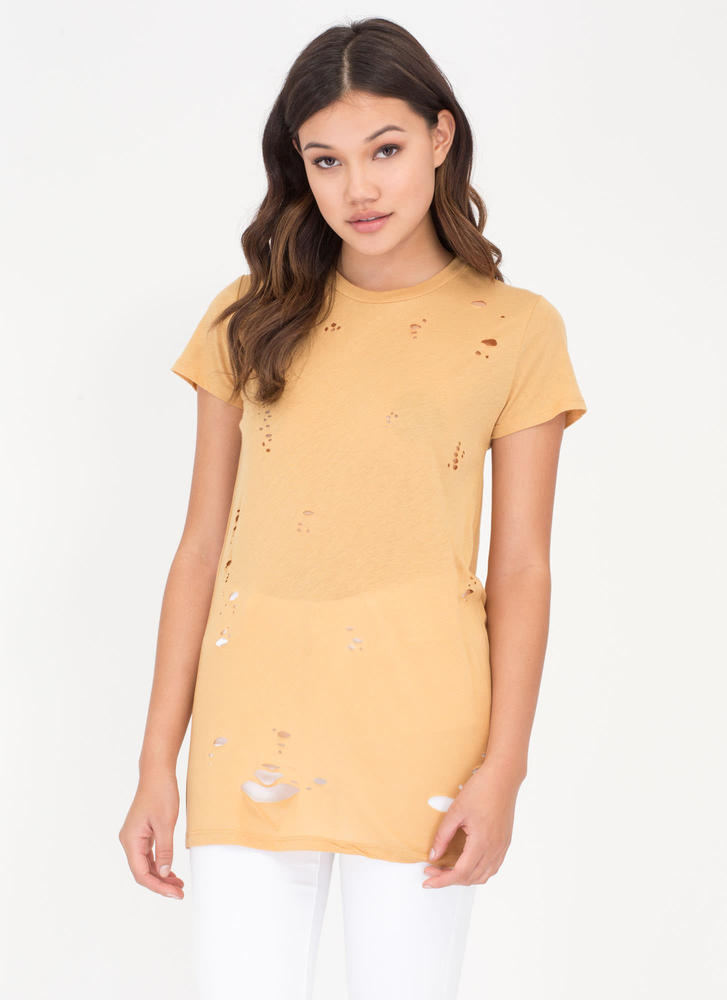 The Hole Wide World Open Back Top MUSTARD