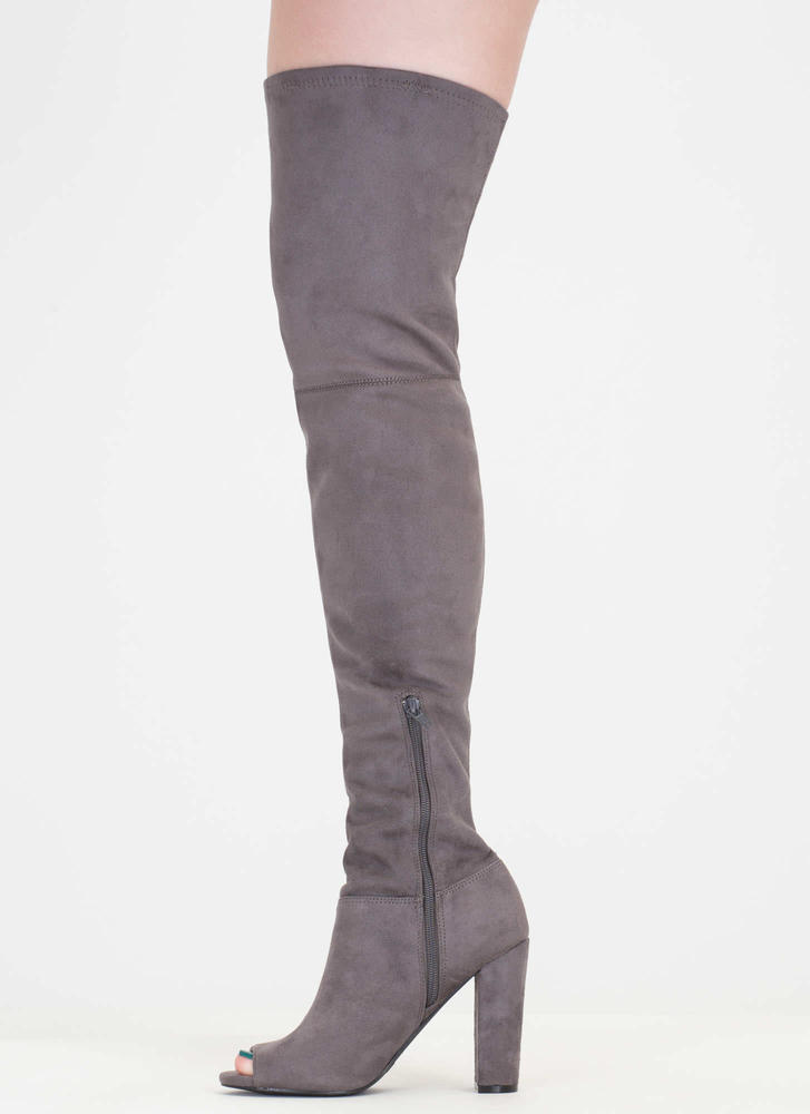 Sleek Preview' Thigh-High Chunky Heel Peep-Toe Boots - Taupe, Dk. Grey