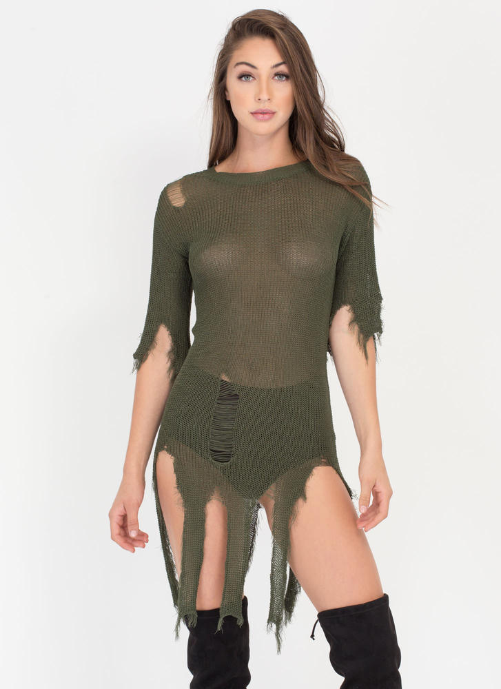 Textural Masterpiece Distressed Sweater OLIVE