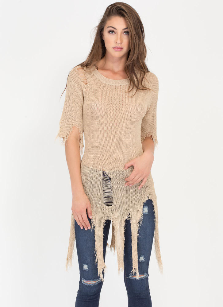 Textural Masterpiece Distressed Sweater