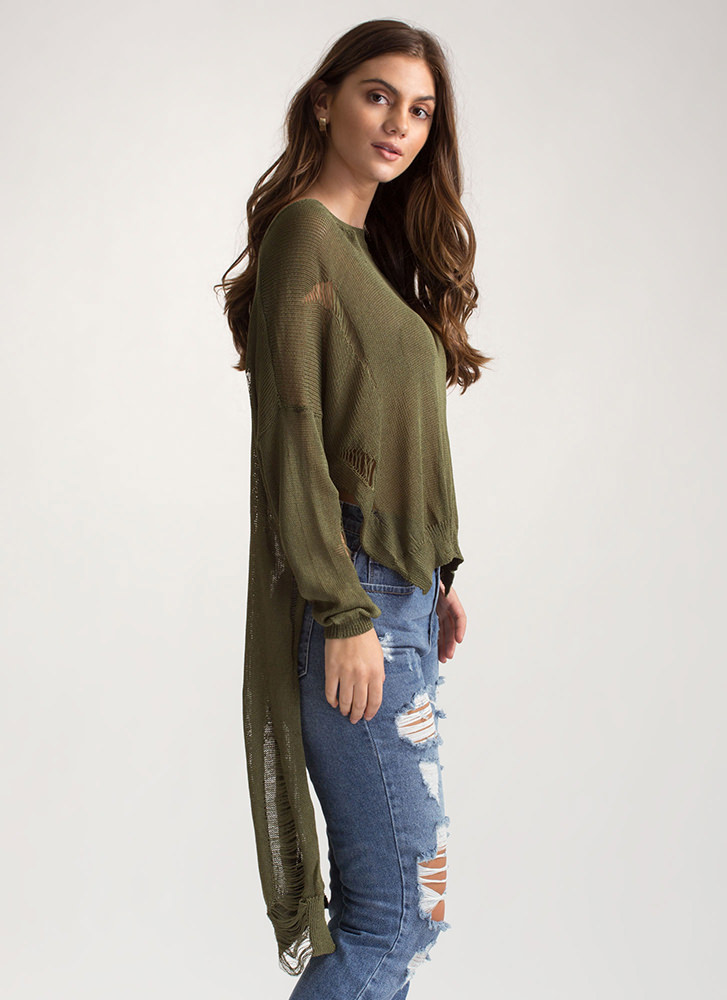 Destroy You Distressed High-Low Sweater OLIVE
