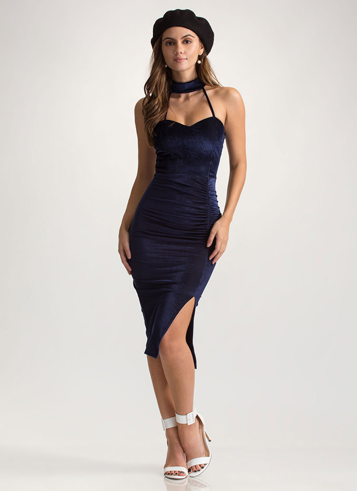 Collar Me Mine Corded Sweetheart Dress NAVY