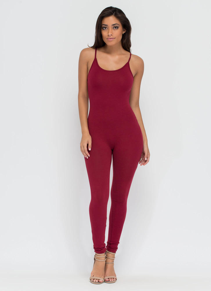 One Woman Show Full Bodysuit BURGUNDY