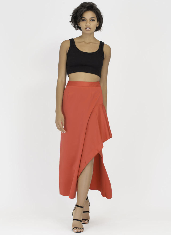 Leg Day Asymmetrical High-Low Maxi Skirt