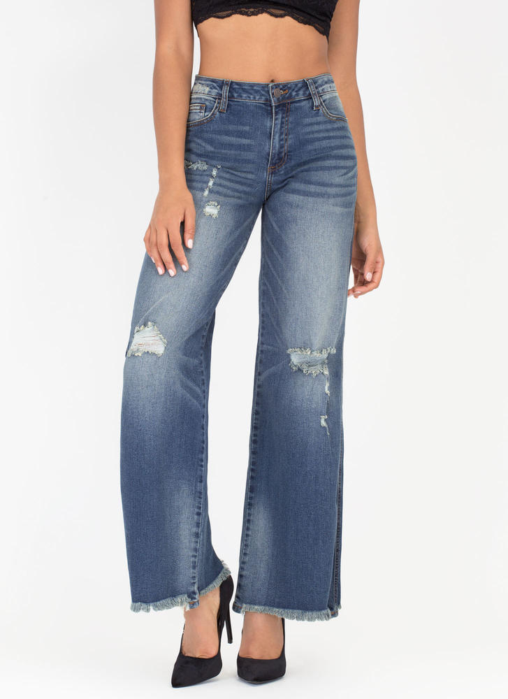 Denim Goals Distressed Wide-Leg Jeans