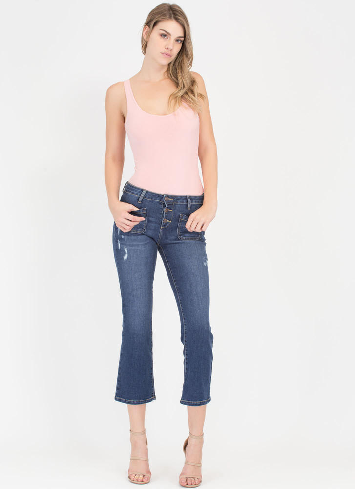 Love A-Flare Cropped Denim Jeans DKBLUE