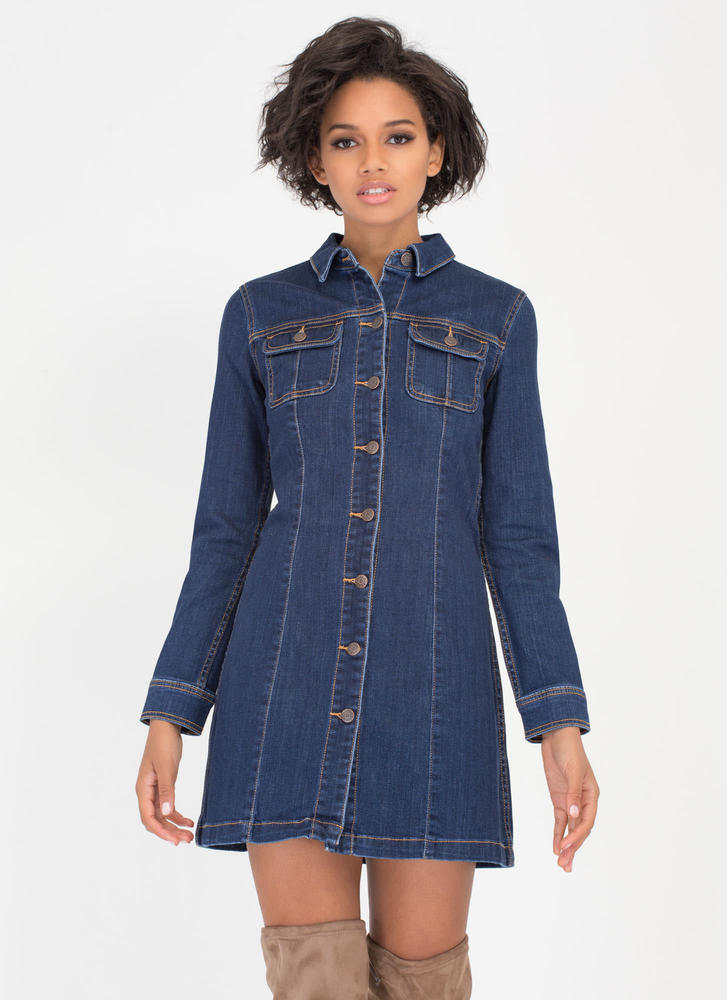 Denim Dame A-Line Shirtdress
