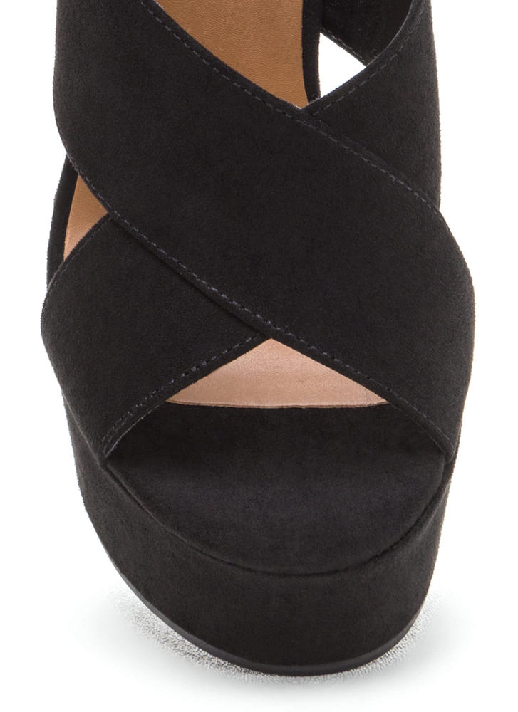 X-Rated Chunky Faux Suede Platform Heels BLACK