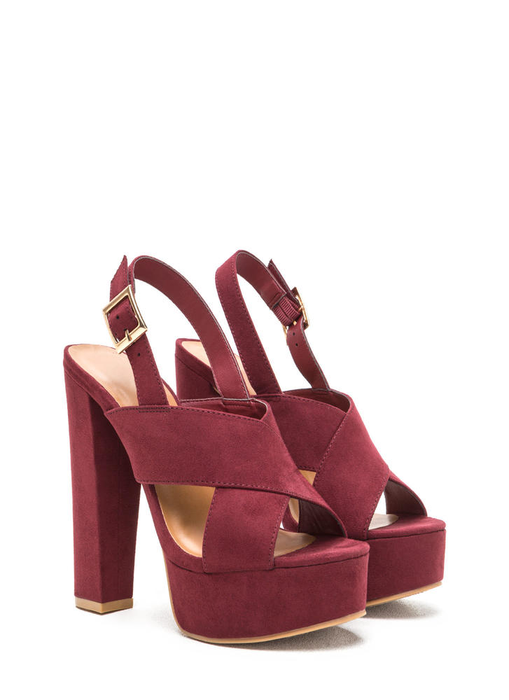 X-Rated Chunky Faux Suede Platform Heels BURGUNDY
