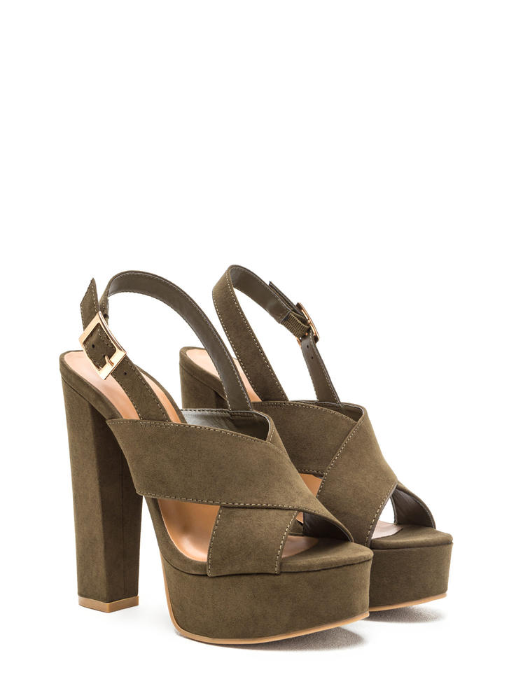 X-Rated Chunky Faux Suede Platform Heels OLIVE