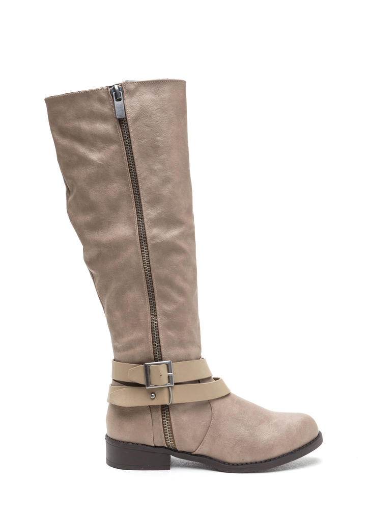 Double Meaning Buckled Knee-High Boots TAUPE (Final Sale)