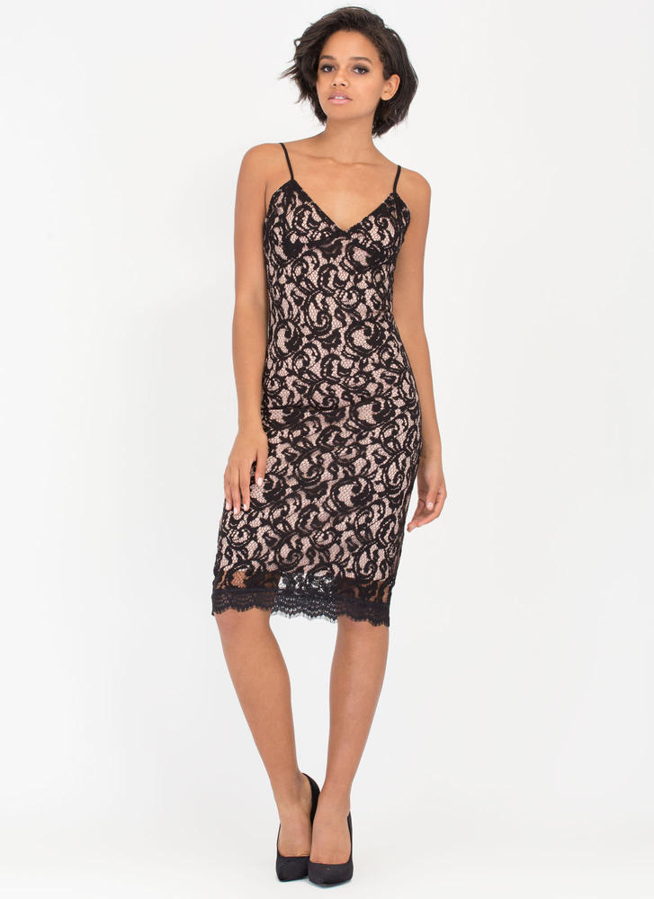 Swirl Meets World Lace Midi Dress BLACK