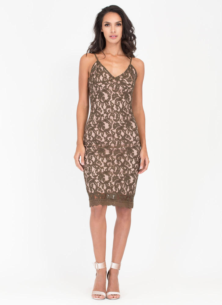 Swirl Meets World Lace Midi Dress OLIVE