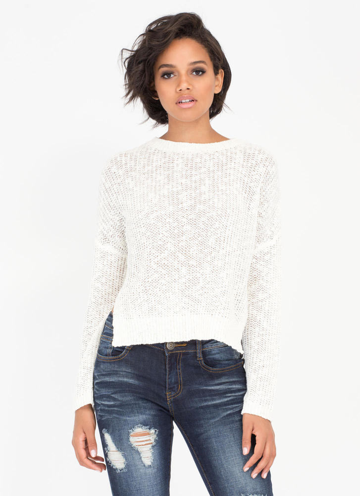 Warm Front High-Low Knit Sweater CREAM