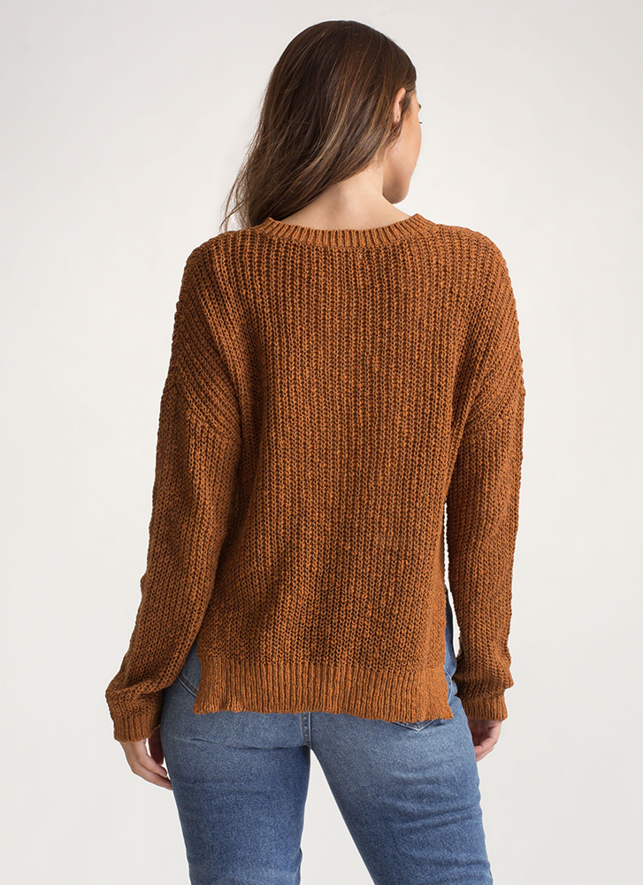 Warm Front High-Low Knit Sweater WHISKEY