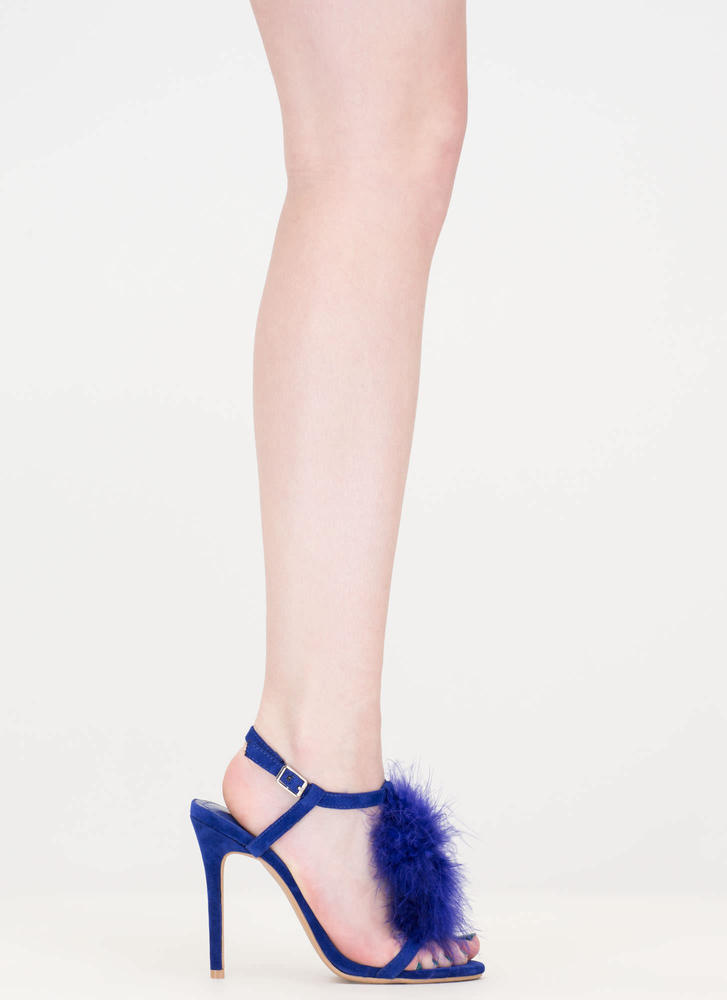 Feathered Friend T-Strap Heels BLUE