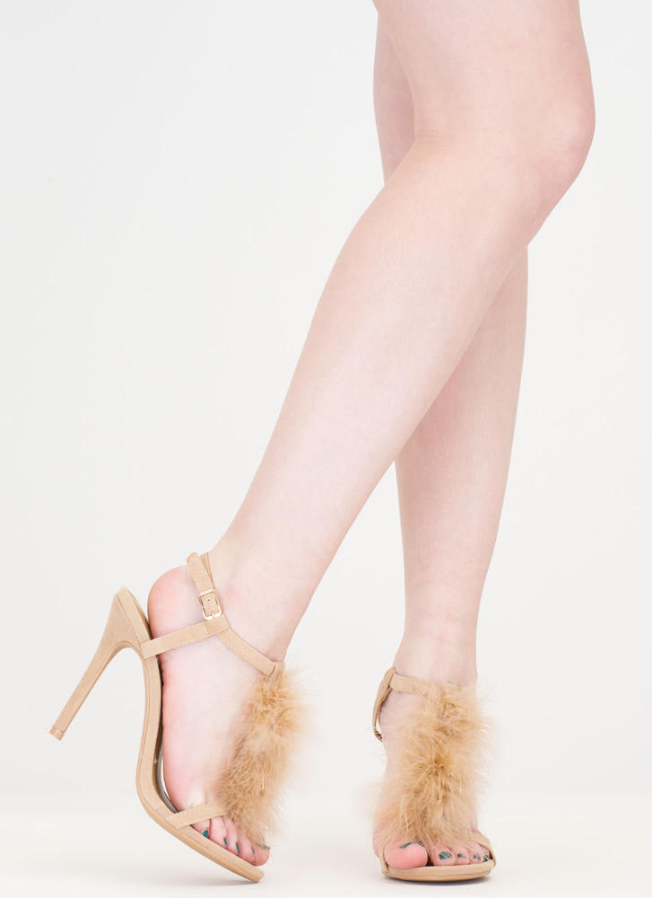 Feathered Friend T-Strap Heels NUDE