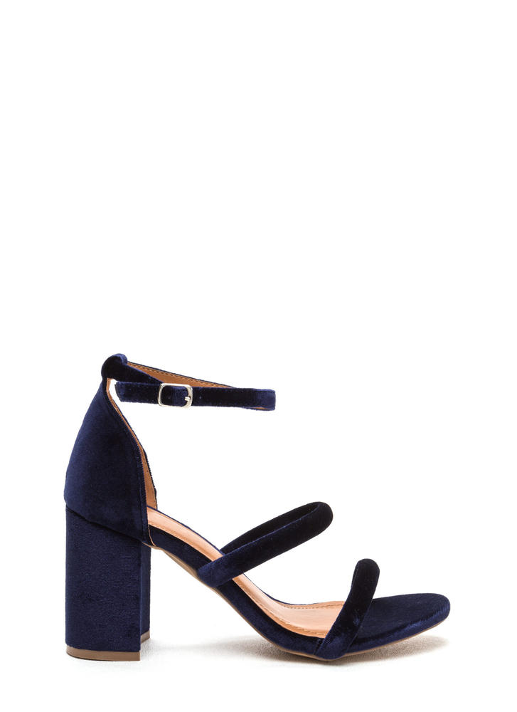 Block Party Triple Strap Chunky Heels BLUE