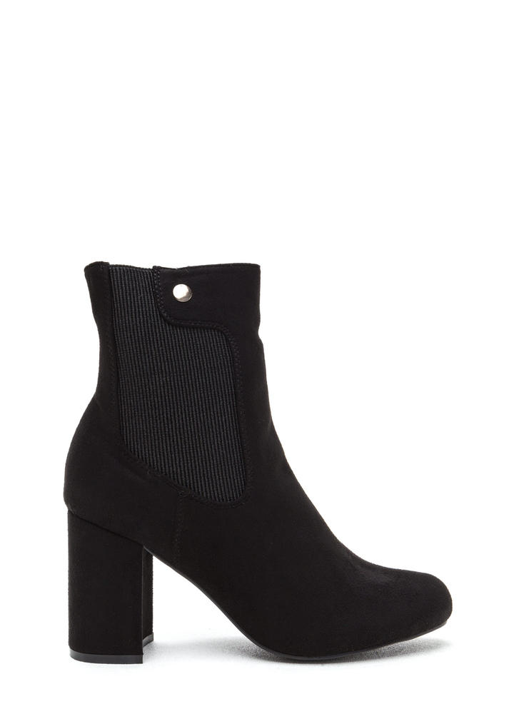 Chic All Day Chunky Faux Suede Booties BLACK