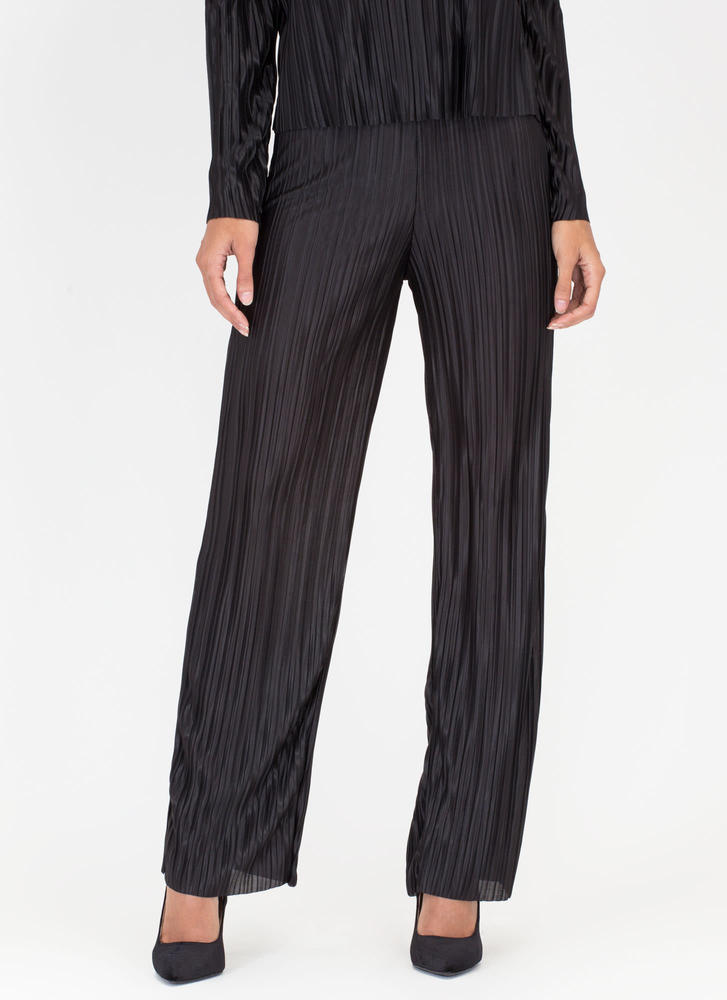 Pleats Me Satiny Textured Pants BLACK