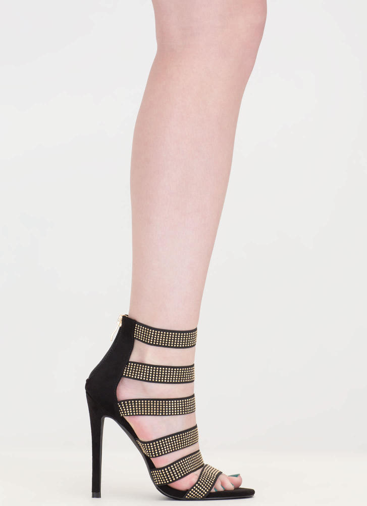 Gleam On Strappy Caged Stiletto Heels BLACK