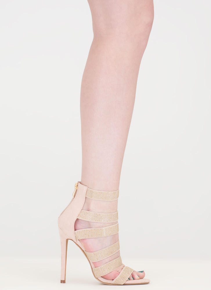 Gleam On Strappy Caged Stiletto Heels NUDE