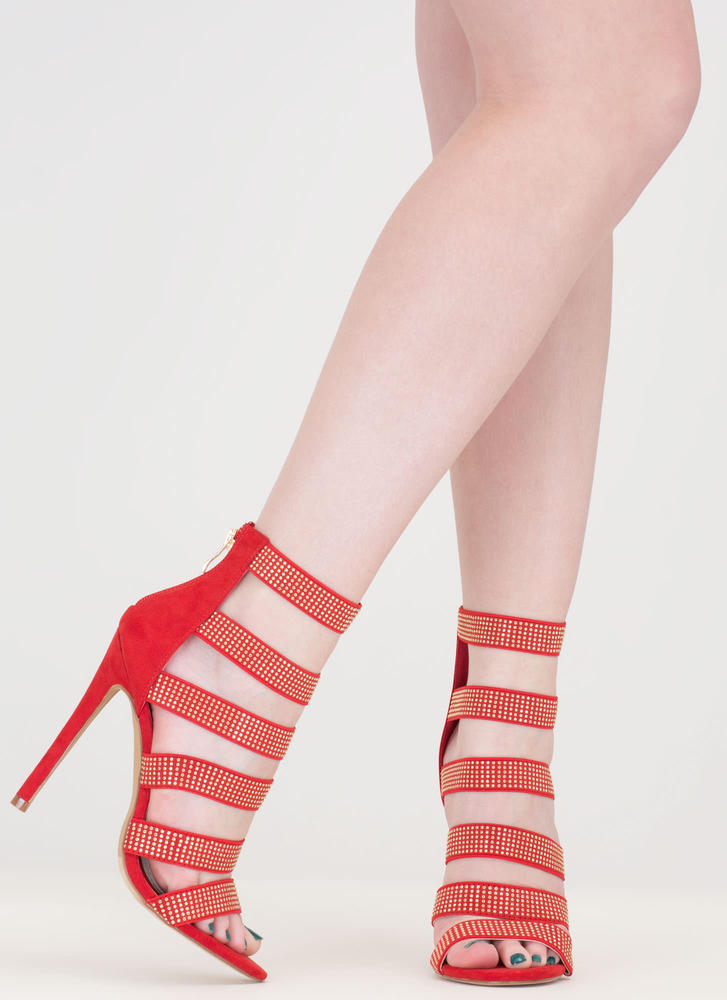 Gleam On Strappy Caged Stiletto Heels RED