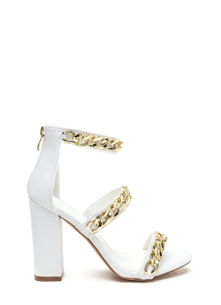 No Chain No Gain Chunky Platform Heels WHITE (Final Sale)