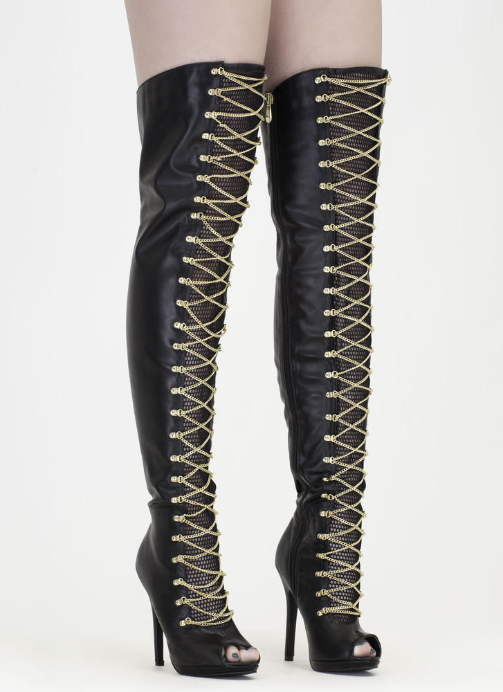 Glam Babe' Faux Leather Thigh-High Peep-Toe Boots with Chains ...