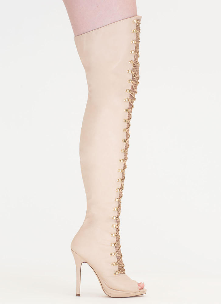 Glam Babe Chain 'N Net Thigh-High Boots NUDE