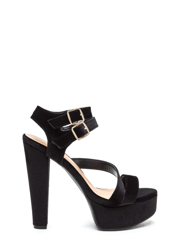 Swoop In Chunky Velvet Platforms