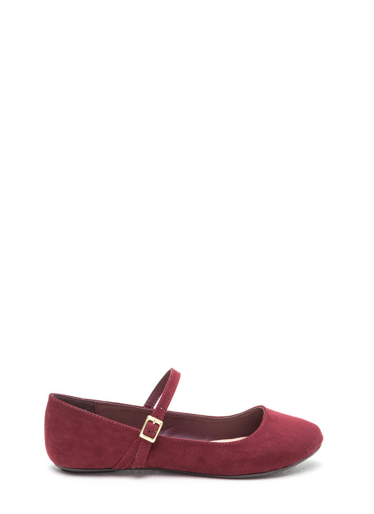 Go Mary Jane Strapped Faux Suede Flats