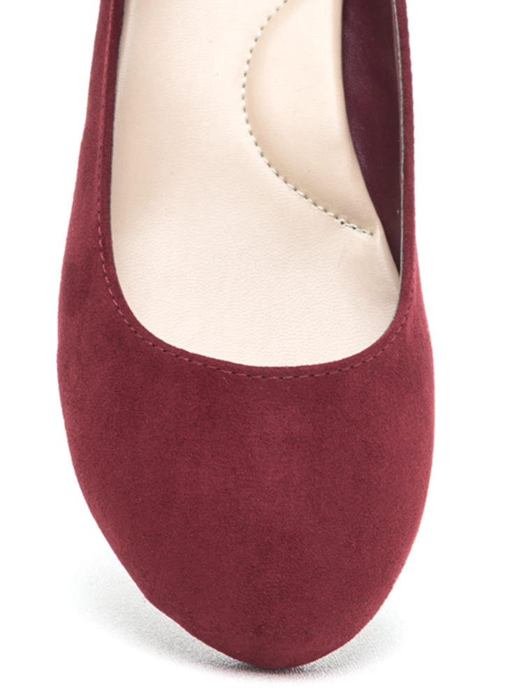 Go Mary Jane Strapped Faux Suede Flats BURGUNDY
