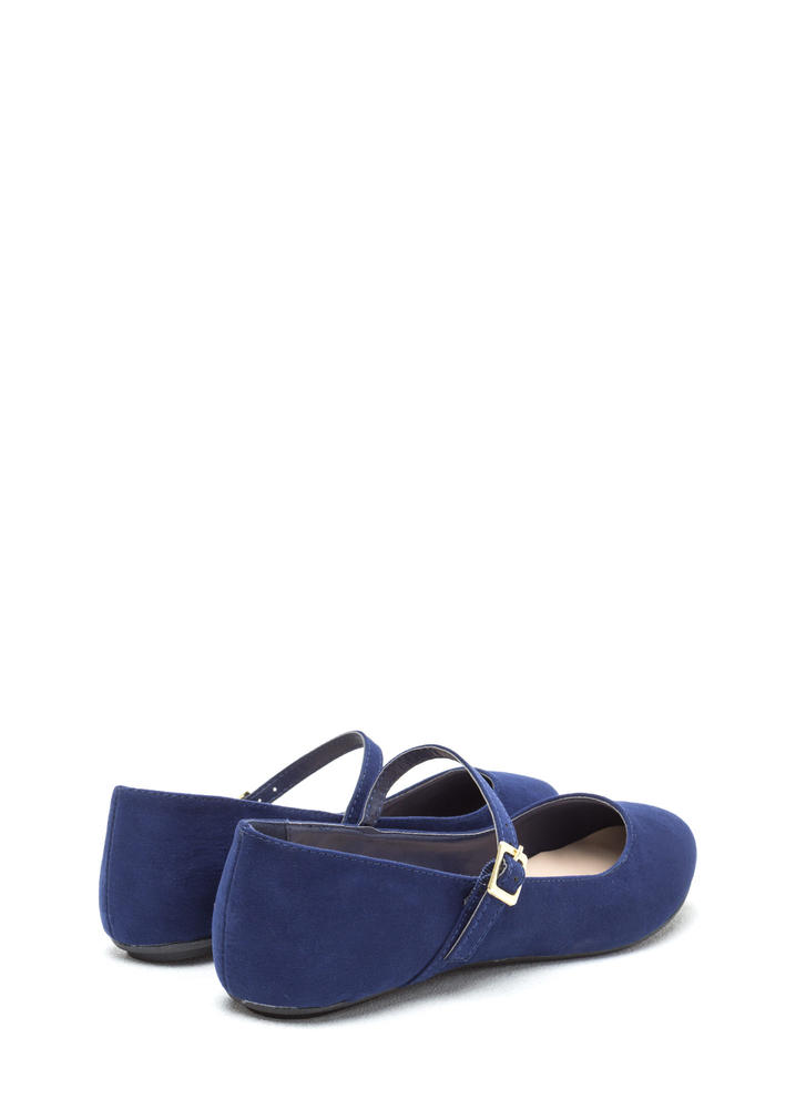 Go Mary Jane Strapped Faux Suede Flats NAVY