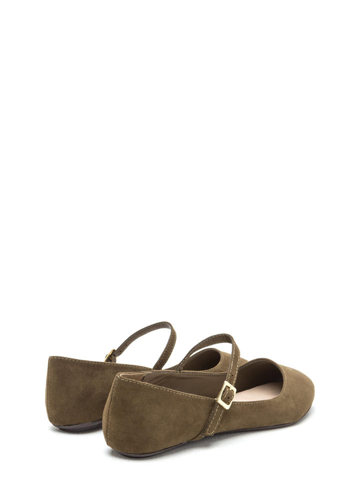 Go Mary Jane Strapped Faux Suede Flats OLIVE