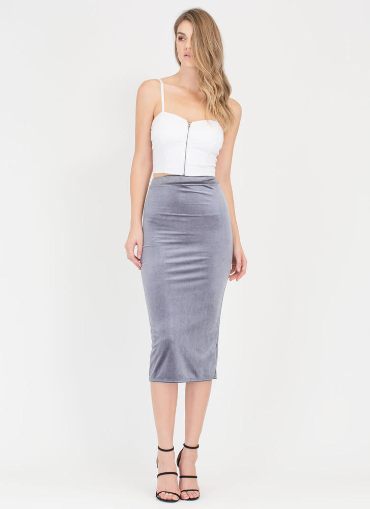 Royal Plush Velvet Pencil Skirt