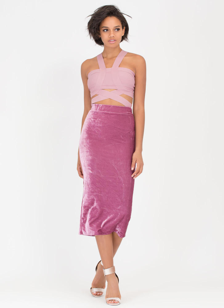 Royal Plush Velvet Pencil Skirt MAUVE (Final Sale)