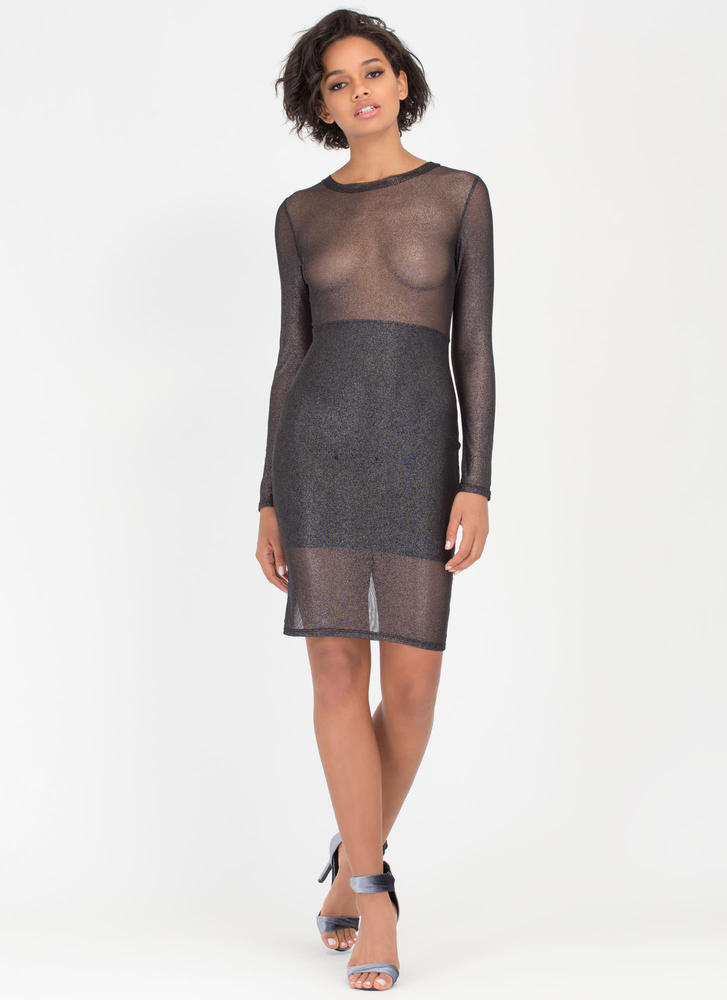 All That's Glittery Mesh Midi Dress