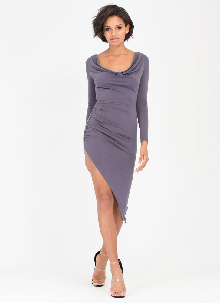 Cowl Girl Asymmetrical Draped Dress