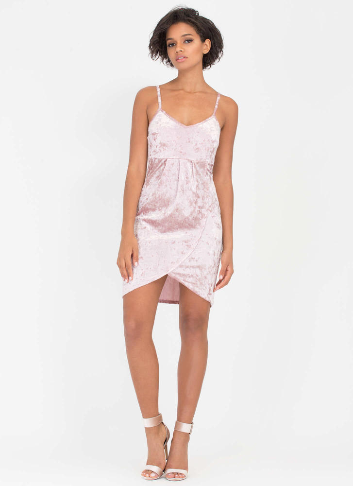 Crushed It Velvet Tulip Hem Dress MAUVE (Final Sale)