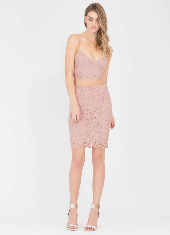 Fleur The Best Lace Bustier Crop Top MAUVE (Final Sale)