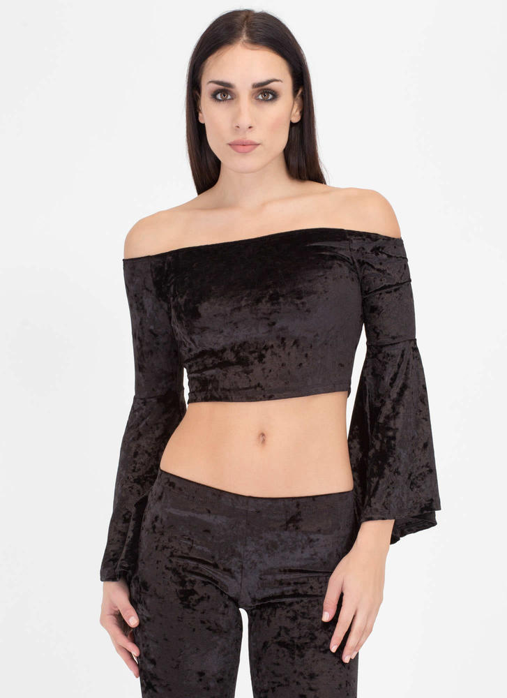So Crushed Velvet Off-Shoulder Top