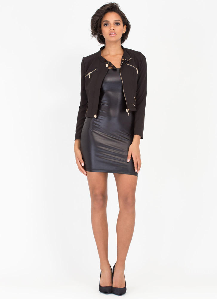 X-cited Laced Zip-Up Moto Jacket BLACK