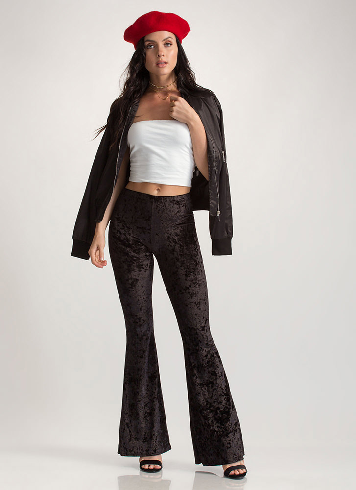 So Crushed Velvet Flared Pants