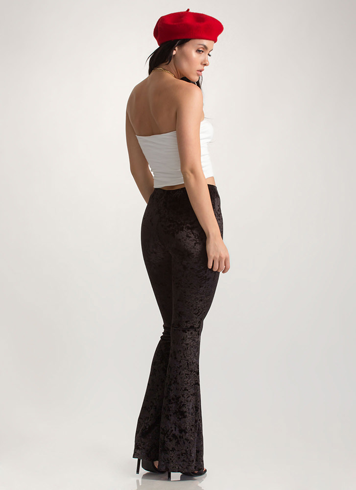 So Crushed Velvet Flared Pants BLACK