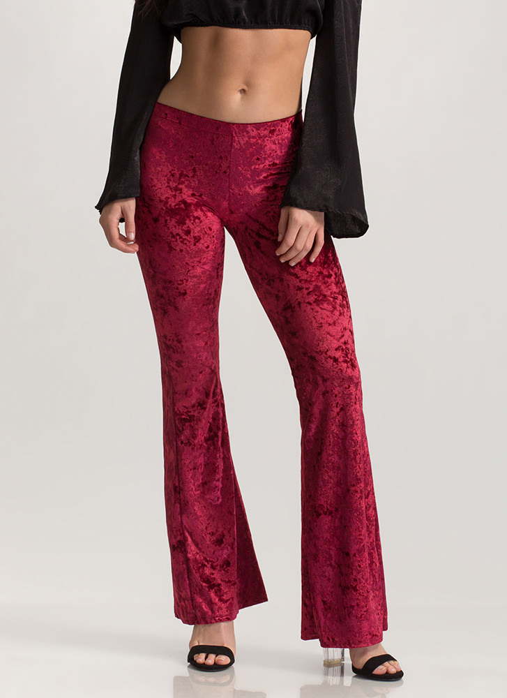 So Crushed Velvet Flared Pants BURGUNDY
